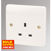 MK Logic Plus 13A 1-Gang Unswitched Plug Socket White