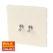 Varilight 2-Gang 2-Way 10A White Choc Metal Toggle Switch