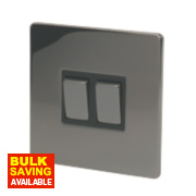 LAP 2-Gang 2-Way 10AX Light Switch Black Nickel