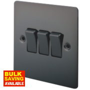 LAP 3-Gang 2-Way 10AX Light Switch Black Nickel