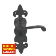 Jedo Antique Fleur de Lys WC Lock Door Handle Black 54 x 195mm