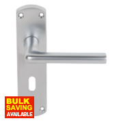 Serozzetta Uno Long Backplate Door Handle Lock Pair Satin Chrome