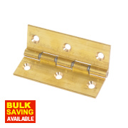 Double Steel Washered Hinge Brass Self-Colour 76 x 51mm Pack of 2