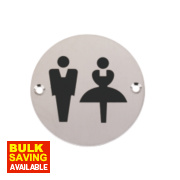 Unisex WC Sign Satin Stainless Steel 76mm