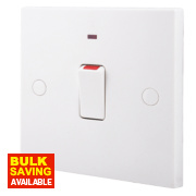British General 20A 1-Gang Double Pole Switch with Neon White