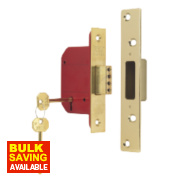 ERA 5 Lever Mortice Deadlock Brass Effect 2½