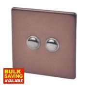 Varilight 2-Gang 2-Way 10A Mocha Metal Push On / Off Switch