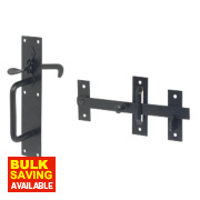 Standard Suffolk Gate Latch Black Powder Coated 180mm