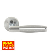Jedo Twin Tone Door Handle Pair Polished / Satin Chrome