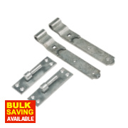 Gate Hinges Cranked Hook & Band Pack Spelter Galvanised 40 x 356 x 150mm