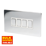 LAP 4-Gang 2-Way 10AX Light Switch Polished Chrome