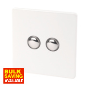Varilight 2-Gang 2-Way 10A Ice White Metal Push On / Off Switch