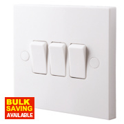 British General 3-Gang 2-Way 10AX Light Switch White