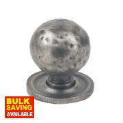 Fingertip Design Traditional Door Knob Hammered Pewter Effect 32mm