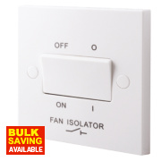 British General 10A 3-Pole Fan Isolator Switch White