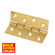 Washered Hinge Brass Self-Colour 102 x 67mm Pack of 2