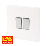 Varilight 2-Gang 2-Way 10A Ice White Metal Rocker Switch