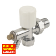 Angled Radiator Valve & Drain Off 15mm x ½