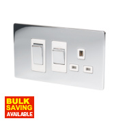 LAP 2-Gang 45A DP Cooker Switch & 13A Switched Plug Socket Polished Chrome