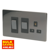 LAP 2-Gang 45A DP Cooker Switch & 13A Switched Plug Socket Black Nickel