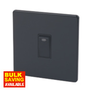 Varilight 1-Gang 20A Jet Black Double Pole Switch & Neon
