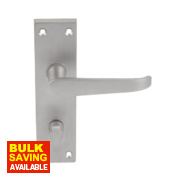 Victorian Straight Lever on Backplate Latch Pair Satin Chrome