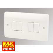 MK Logic Plus 4-Gang 2-Way 10AX Light Switch White
