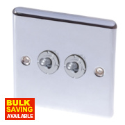 LAP 2-Gang 2-Way 10AX Toggle Switch Polished Chrome