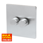 LAP 2-Gang 2-Way Dimmer Switch Mains/Low Voltage 250W Brushed Chrome