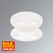 Traditional Cabinet Door Knob Porcelain White 50mm Pack of 2