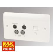 MK TV / FM / Satellite Quadruplex with Slave Telephone Socket White