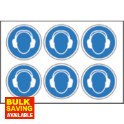 Wear Ear Protectors Symbol Adhesive Labels 100mm 230 x 330mm Pack of 30