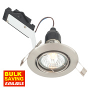 LAP Adjustable Round Mains Voltage Downlight Brushed Chrome 240V