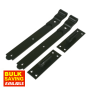 Cranked Gate Hinge Pack Powder-Coated Black 40 x 356 x 150mm