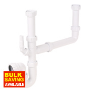 FloPlast Double Bowl Sink Trap Kit 40mm White