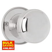 Jedo Ringed Door Knob Pair Polished Chrome 65mm Pack of 2
