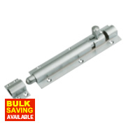 Straight Barrel Door Bolt Satin Chrome-Plated 152mm
