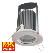 British General Fire Rated Fixed LED Downlight IP65 Brushed Steel 7W