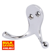 Double Robe Hooks Polished Chrome 50mm Pack of 5