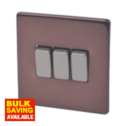 Varilight 3-Gang 2-Way 10A Mocha Metal Rocker Switch