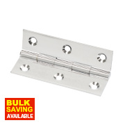 Solid Drawn Brass Hinge Polished Chrome 64 x 34mm Pack of 2