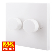 British General 2-Gang 2-Way 400W Push Dimmer Switch White
