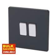 Varilight 2-Gang 2-Way 10A Jet Black Metal Rockers Switch