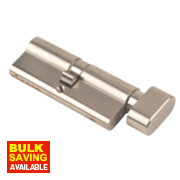 Yale 6-Pin Euro Cylinder Thumbturn Lock 45-50 (95mm) Satin Nickel