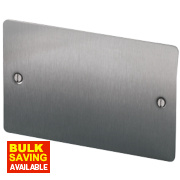 LAP 2-Gang Blank Plate Brushed Stainless Steel