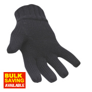 Non Safety Thinsulate-Lined Knit Gloves Black One Size Fits All