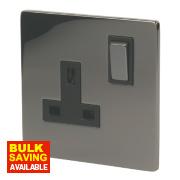 LAP 13A 1-Gang DP Switched Plug Socket Black Nickel