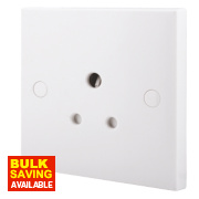 British General 5A 1-Gang Round Pin Unswitched Plug Socket White