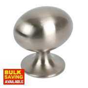 Oval Knob Satin Nickel 30mm Pack of 2