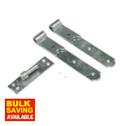 Gate Hinges Straight Hook & Band Pack Spelter Galvanised 40 x 356 x 150mm Pack of 2